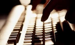 one finger on keyboard