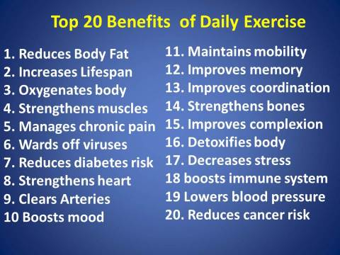 Top 20 exercise benefits