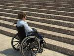 wheelchair facing steps